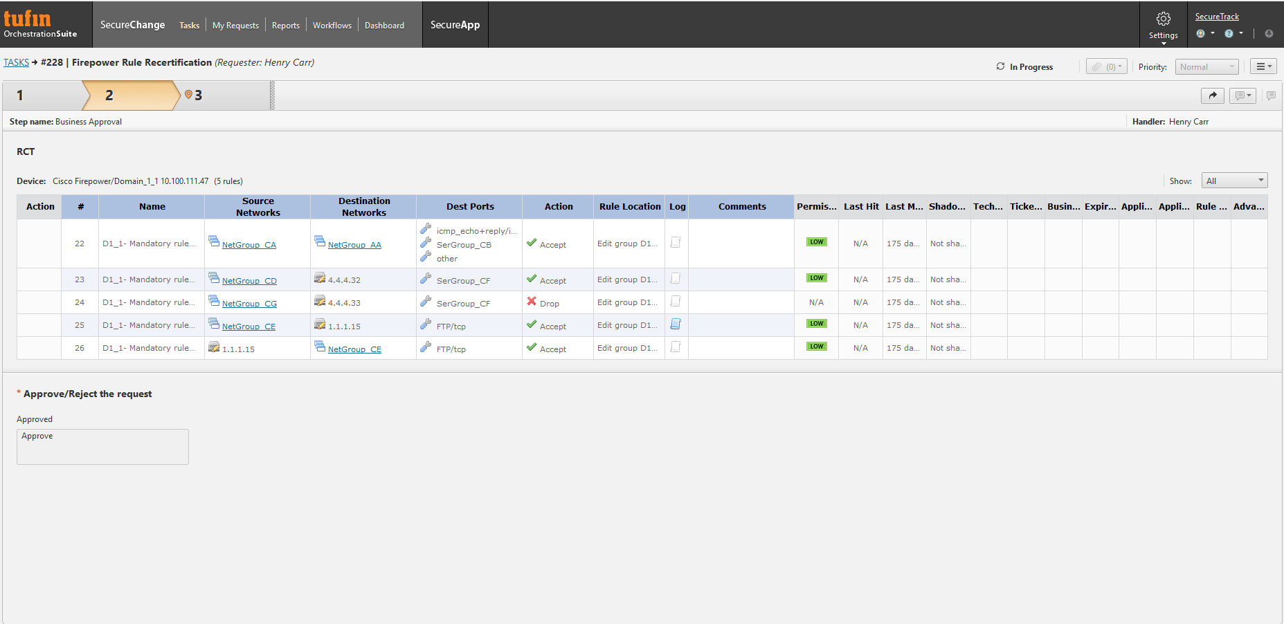 Tufin Firewall Analyzer Dashboard