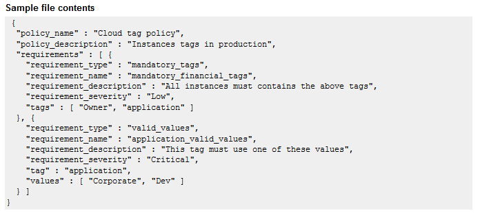 Tag policy example